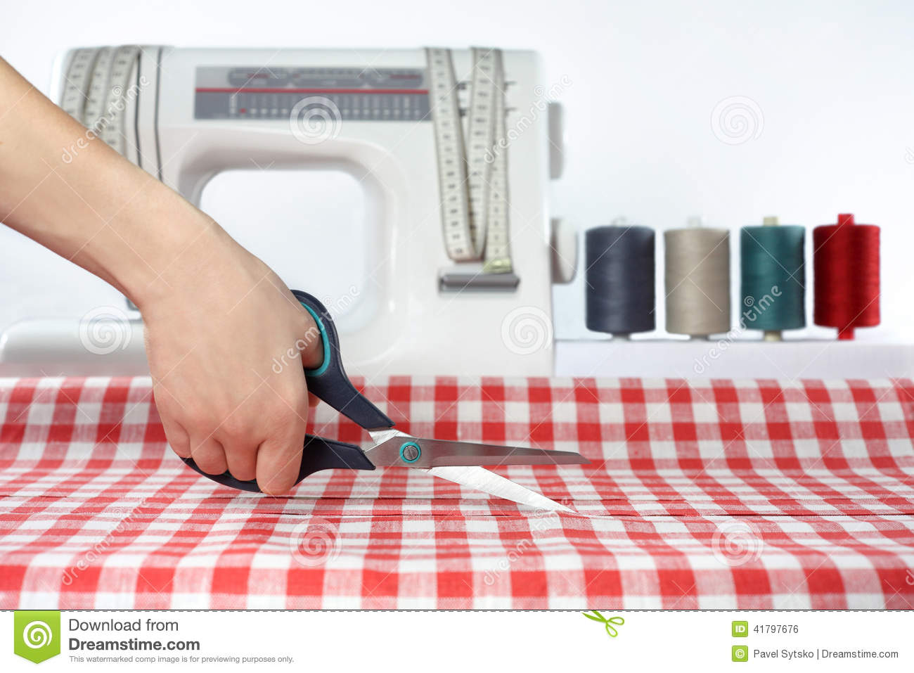 Tailor Sewing Cutting Fabric Dressmaker At Work Fabric