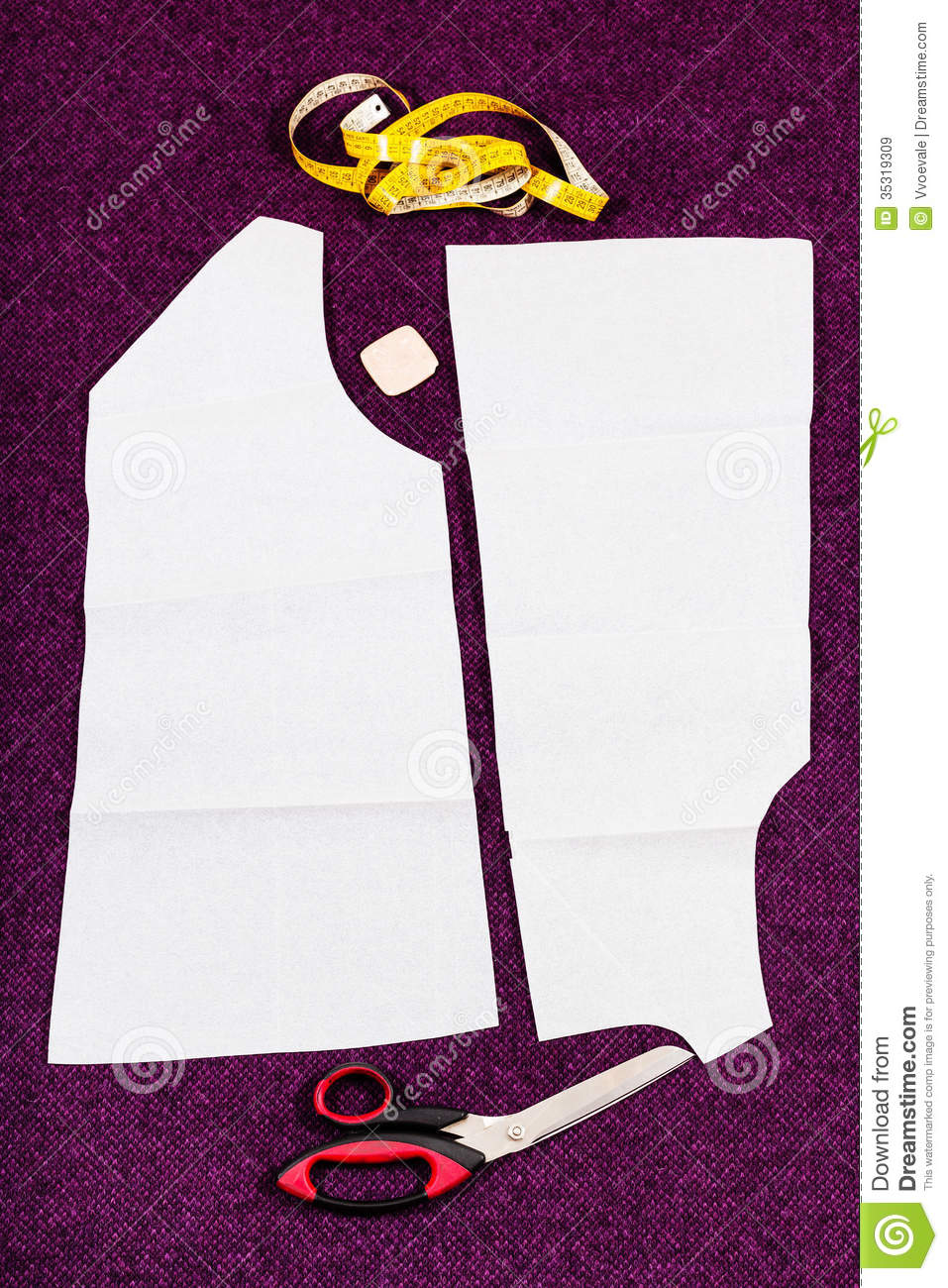 Tailor Tools And Pattern Cutting Of Clothes Stock Image