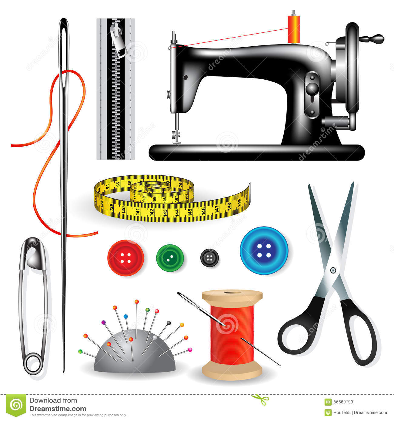 Tailor Tools Stock Vector - Image: 56669799