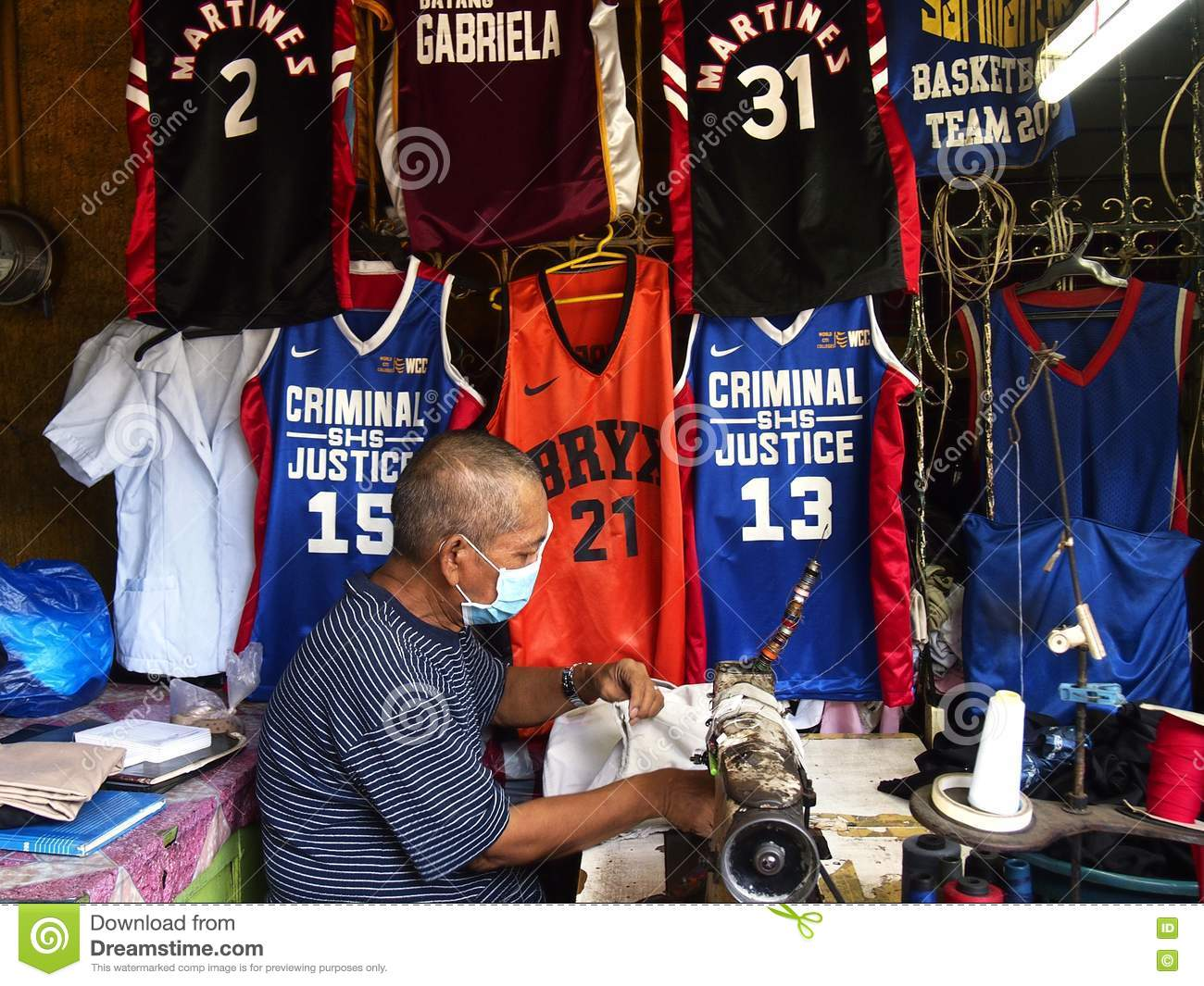 A Tailor Works On A Sports Jersey Editorial Image - Image of rizal ...