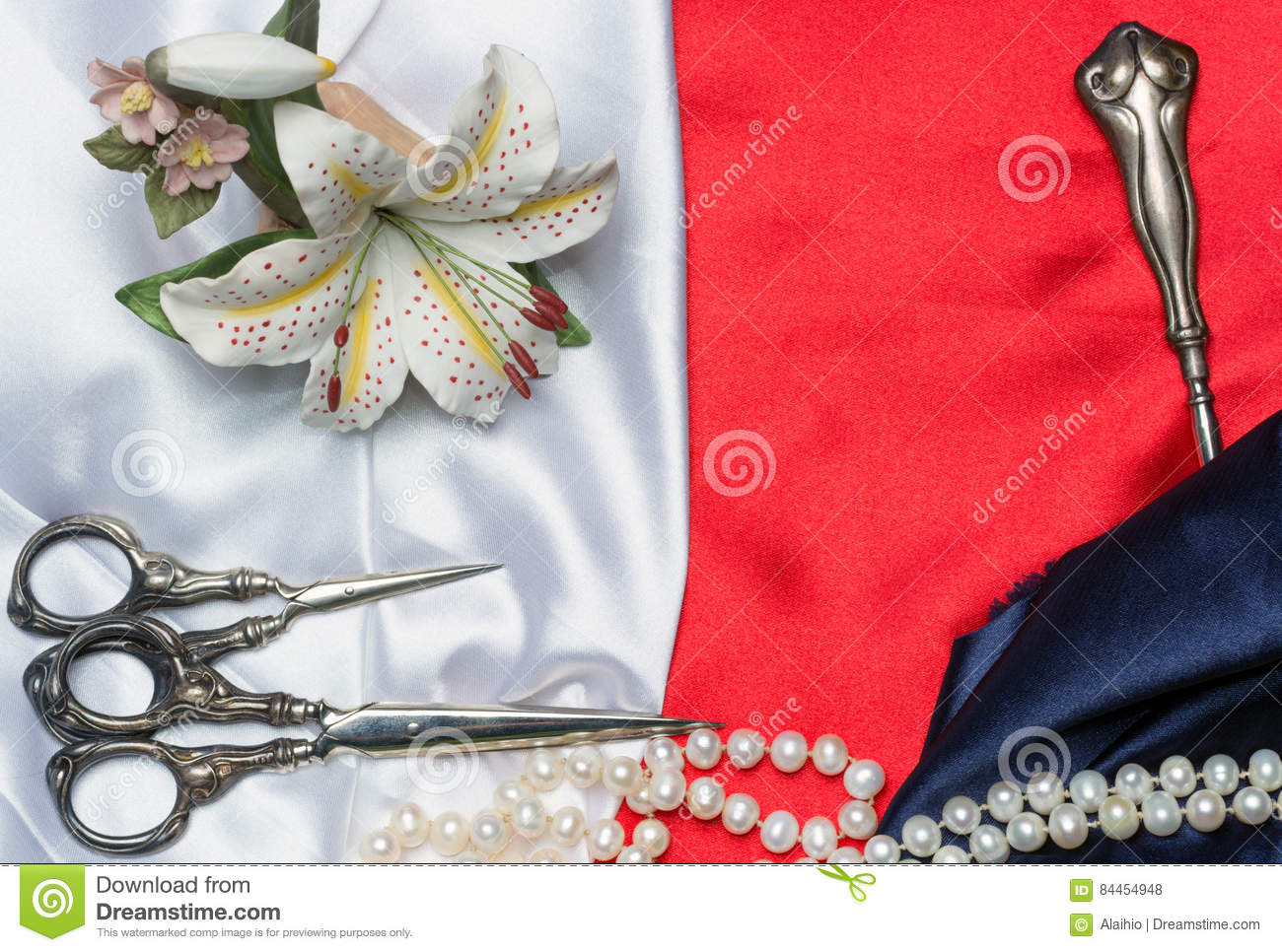 Tailoring Tools And Pearls On The Silk Stock Photo Image Of