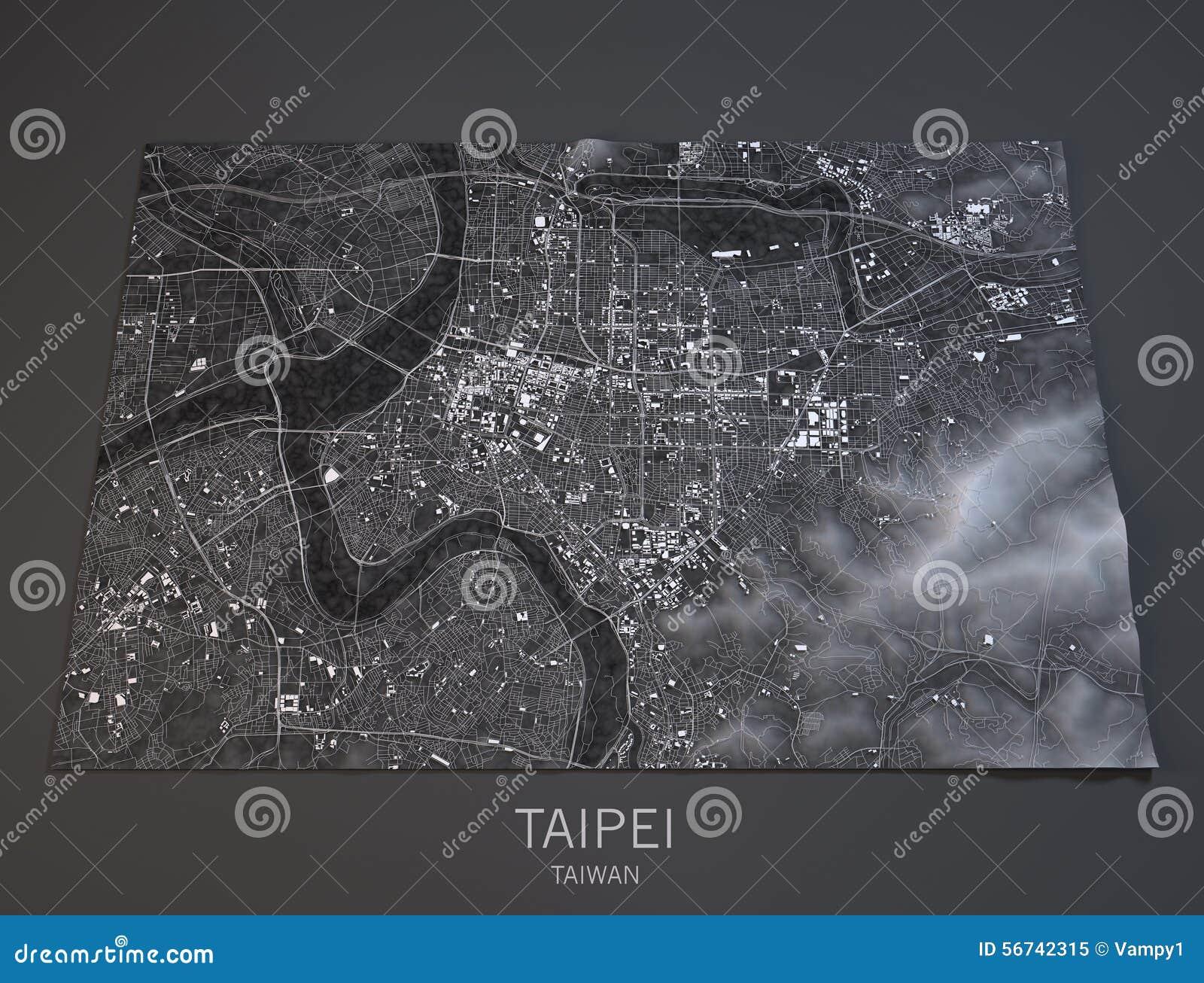Taipei översikt, satellit- sikt, Taiwan, 3d