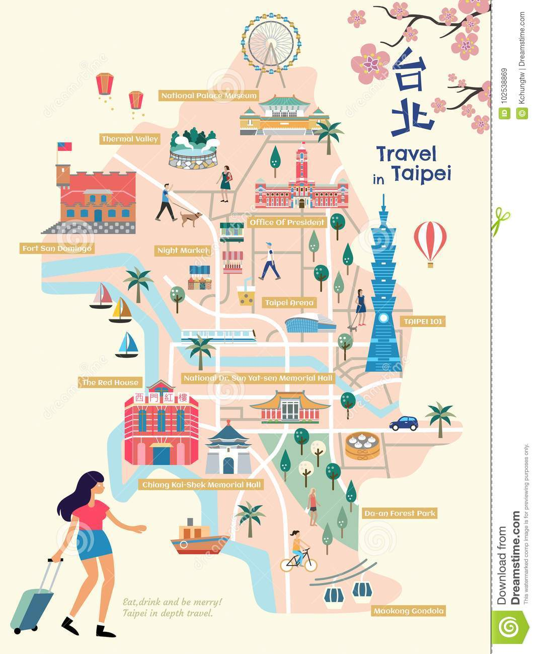Map Of Upper Asia.Taipei City Map Stock Illustration Illustration Of Asia 102538869