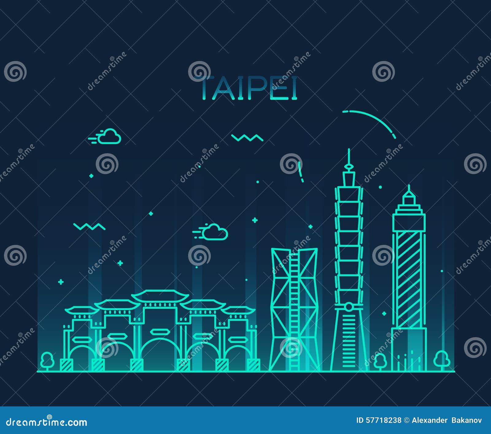 Taipei skyline silhouette
