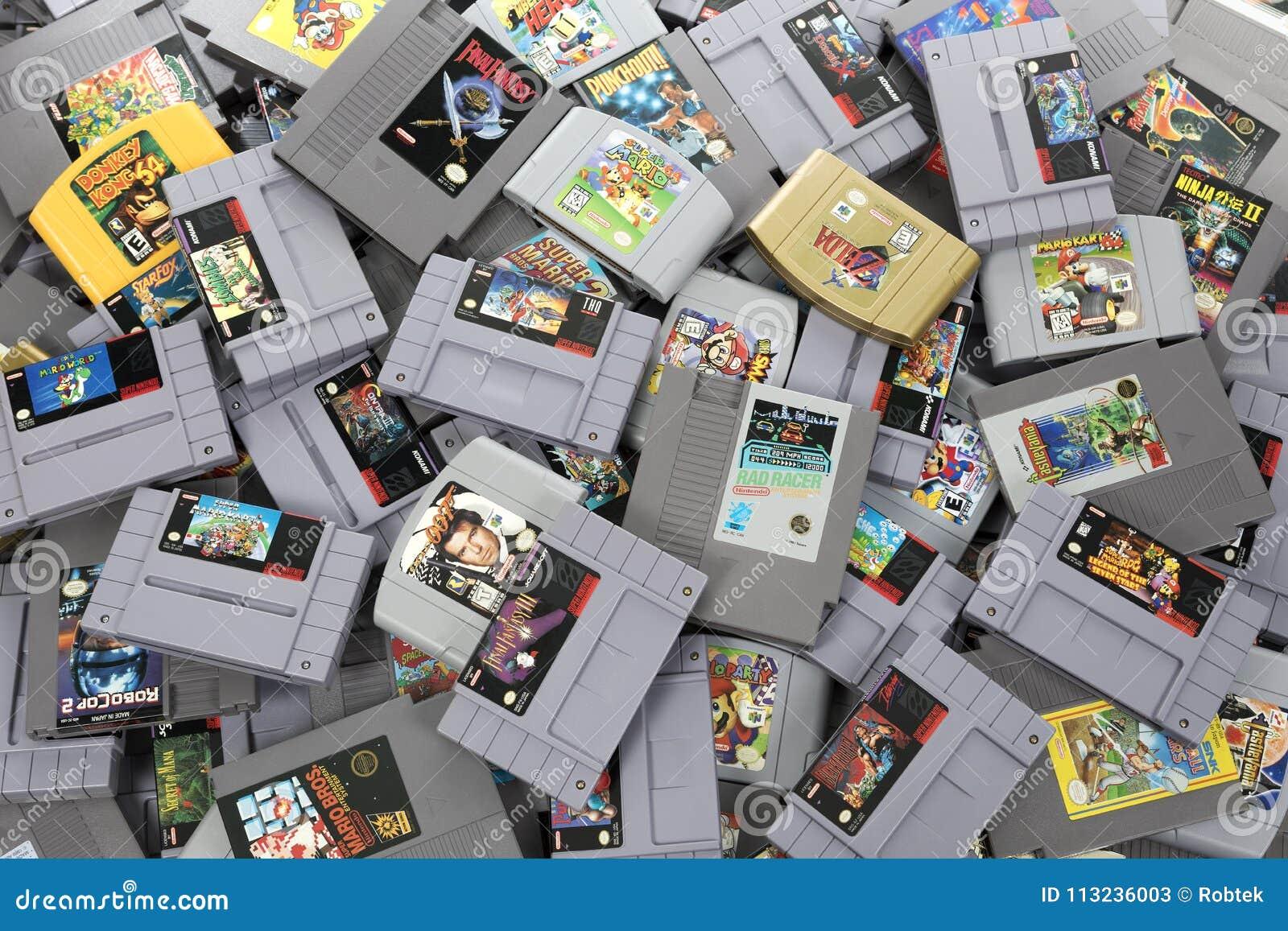 Large Pile Of Retro Nintendo Games Editorial Stock Photo