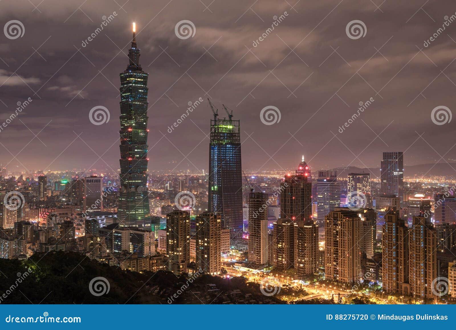 TAIPEI, TAIWAN - NOVEMBER 29, 2016: Taipei, Taiwan. Night Panorama. Skyline. Cityscape. Taipei 101 Taipei World Financial Center i