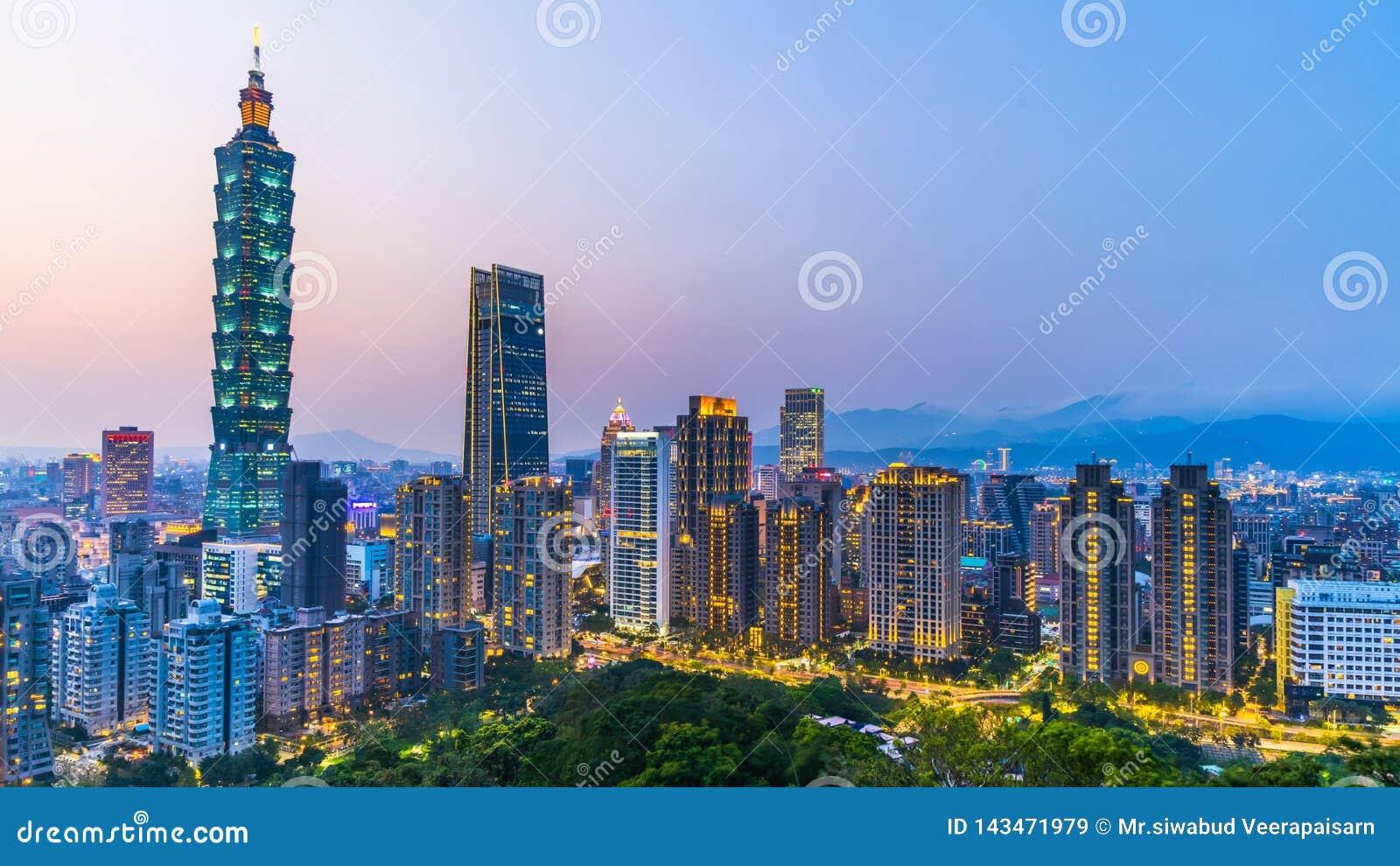 Taiwan city skyline at twilight , The beautiful sunset of Taipei, Aerial view Taiwan city skyline and skyscraper