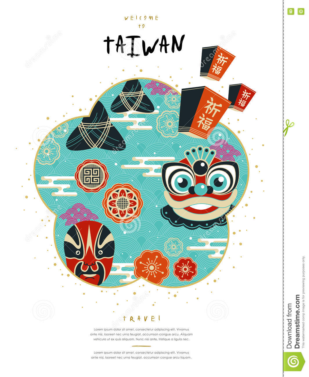 Taiwan Culture Poster Lovely Design Famous Events Symbol