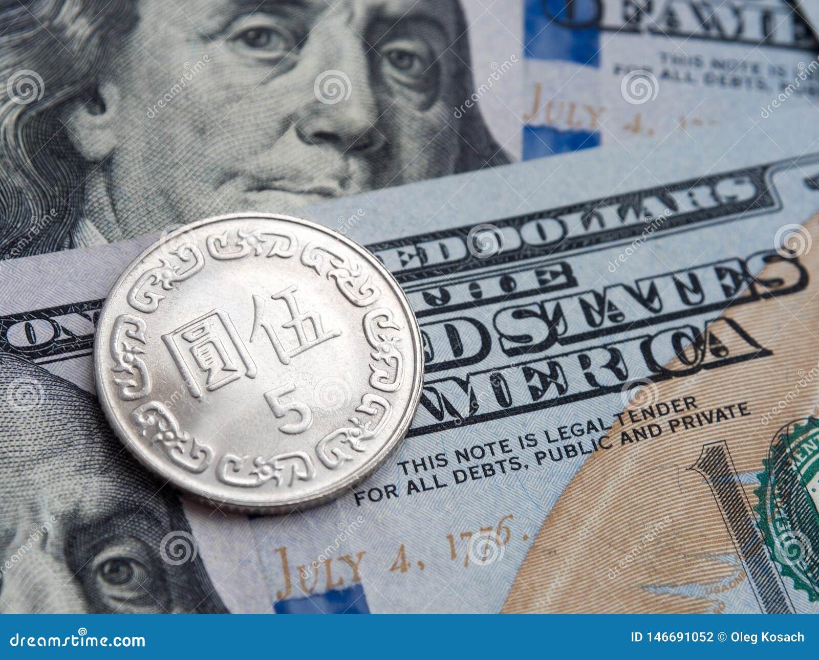 Taiwan-Dollar zu US-Dollar Austausch auf Dollarhintergrund