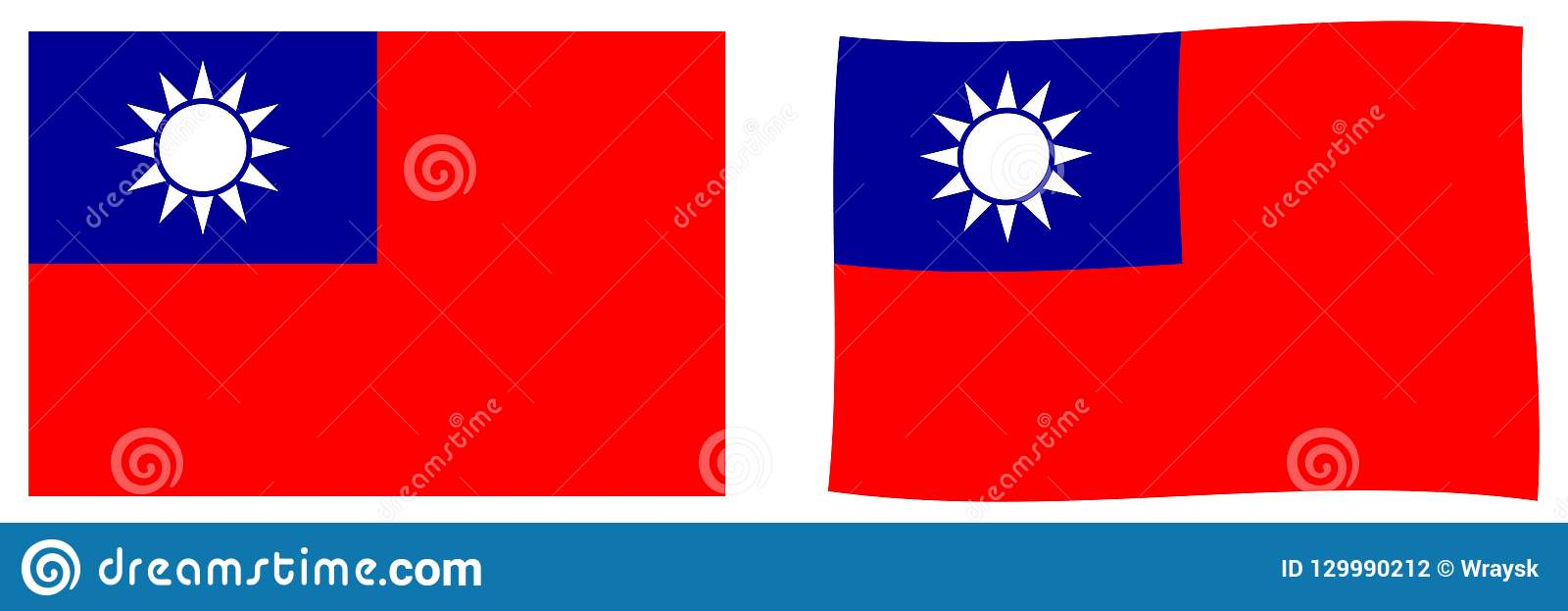 Taiwan Republic Of China Flag  Simple And Slightly Waving