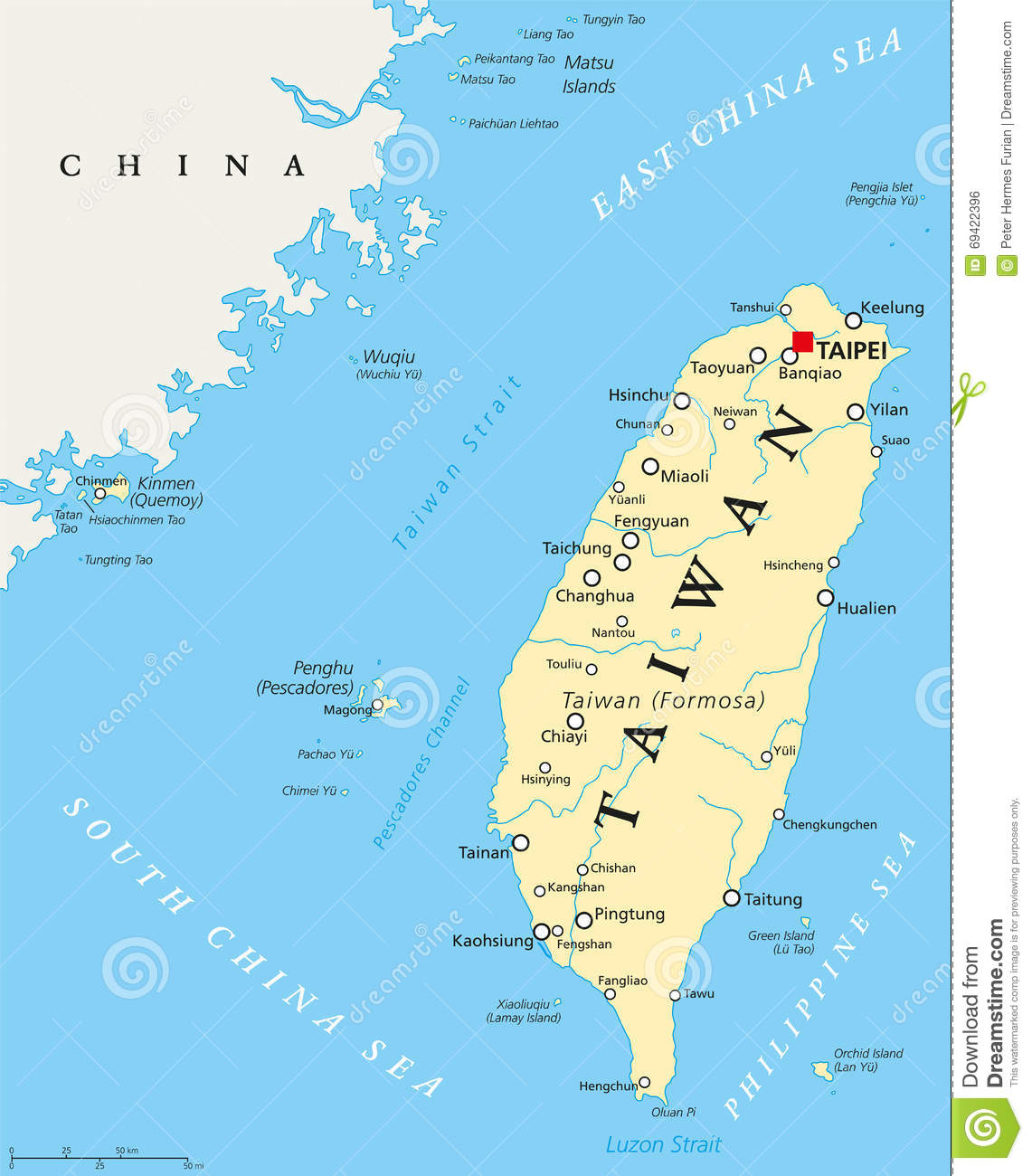 Map Of China Cities In English.Taiwan Republic Of China Political Map Stock Vector Illustration
