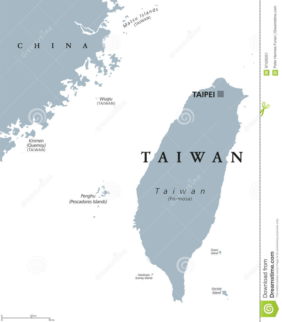 Taiwan Or Republic Of China Roc Political Map Stock Vector