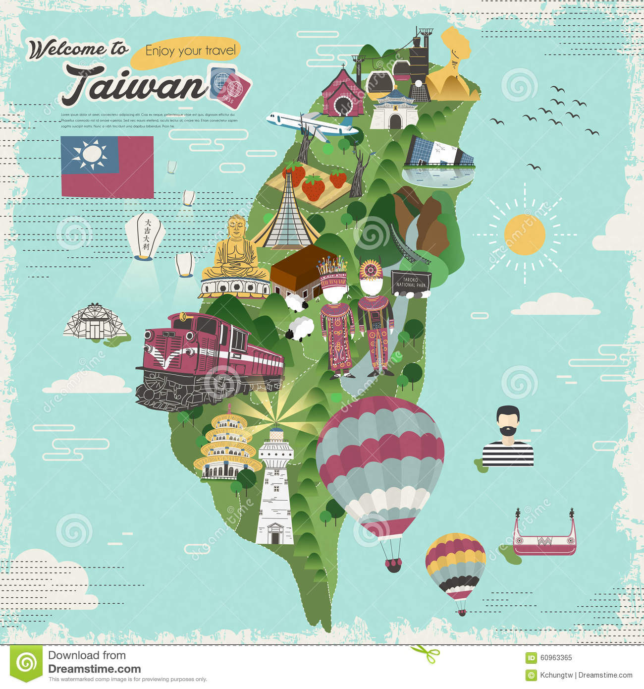 Taiwan Travel Map Illustration Image 60963648 – Taiwan Tourist Attractions Map