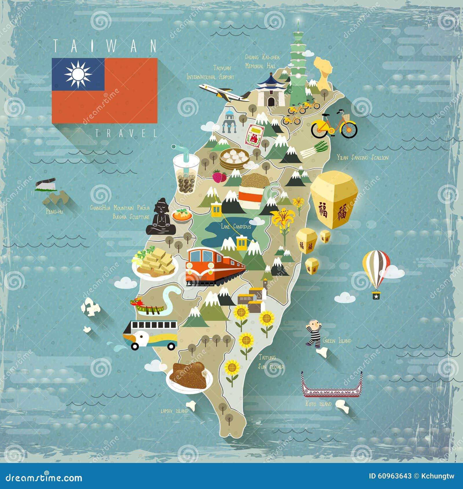 taiwan travel map illustration 60963643 megapixl