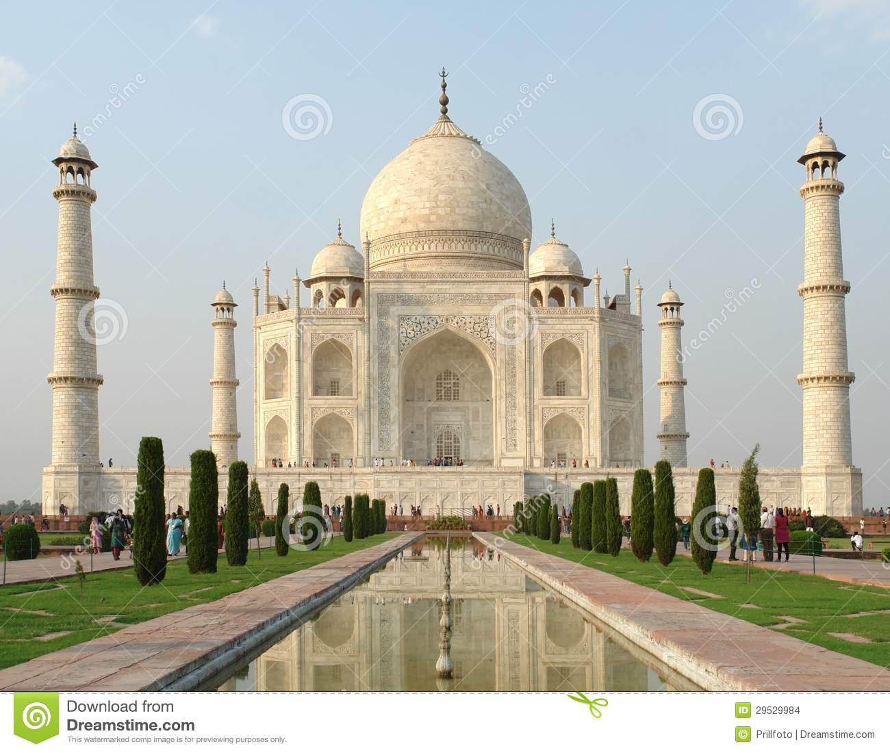Mausoleum named Taj Mahal in Agra, India at evening time.