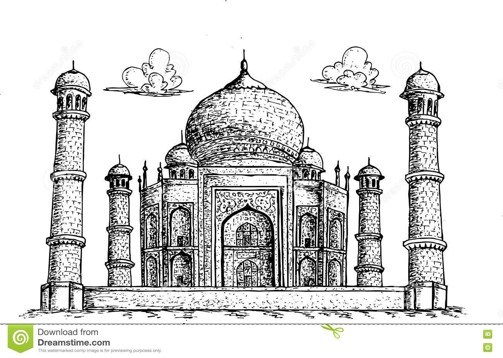 Line Drawing Of Qutub Minar : Taj mahal agra india hand drawn illustration stock vector