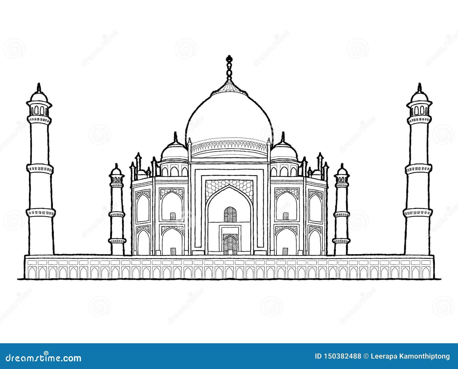 Taj Mahal, Agra, Uttar Pradesh, India: Getrokken het Beeldverhaalart. van de oriëntatiepunt Vectorillustratie Hand