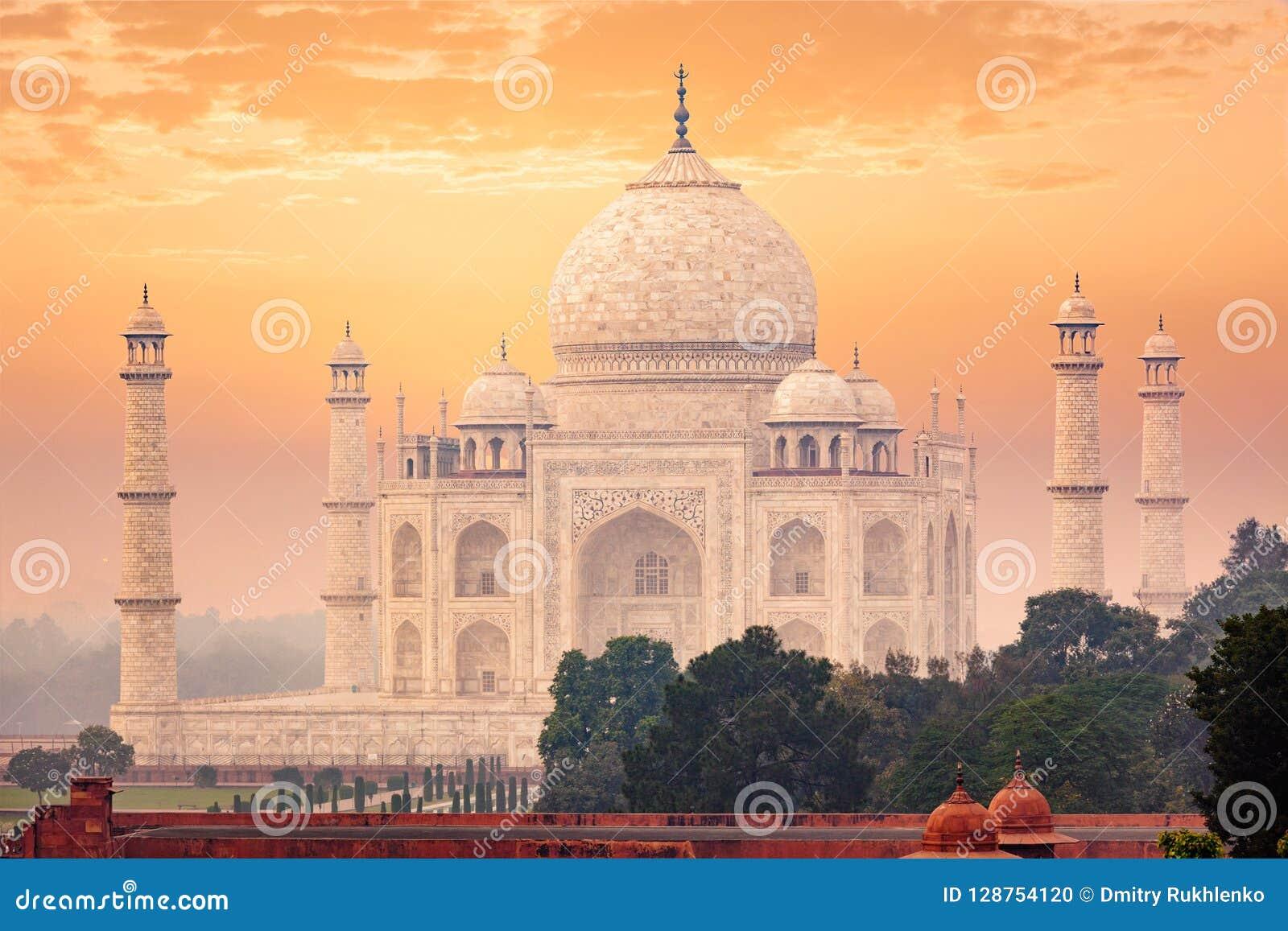 Taj Mahal auf Sonnenaufgangsonnenuntergang, Agra, Indien