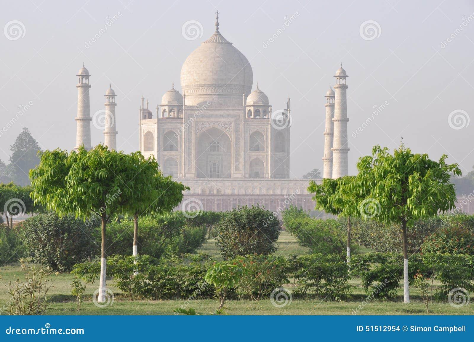 Taj Mahal, de la parte posterior, Agra la India