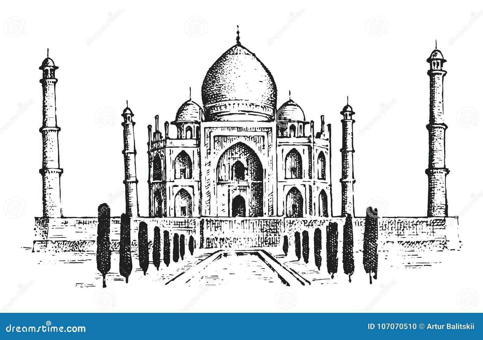 Taj Mahal en forntida slott i Indien landmark