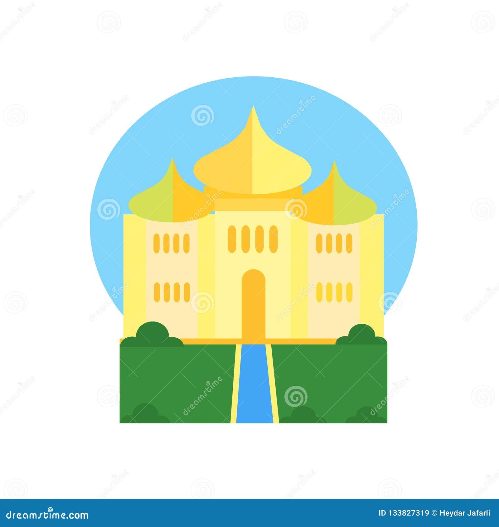 Taj Mahal Ikonenvektorzeichen und -symbol lokalisiert auf weißem backgrou