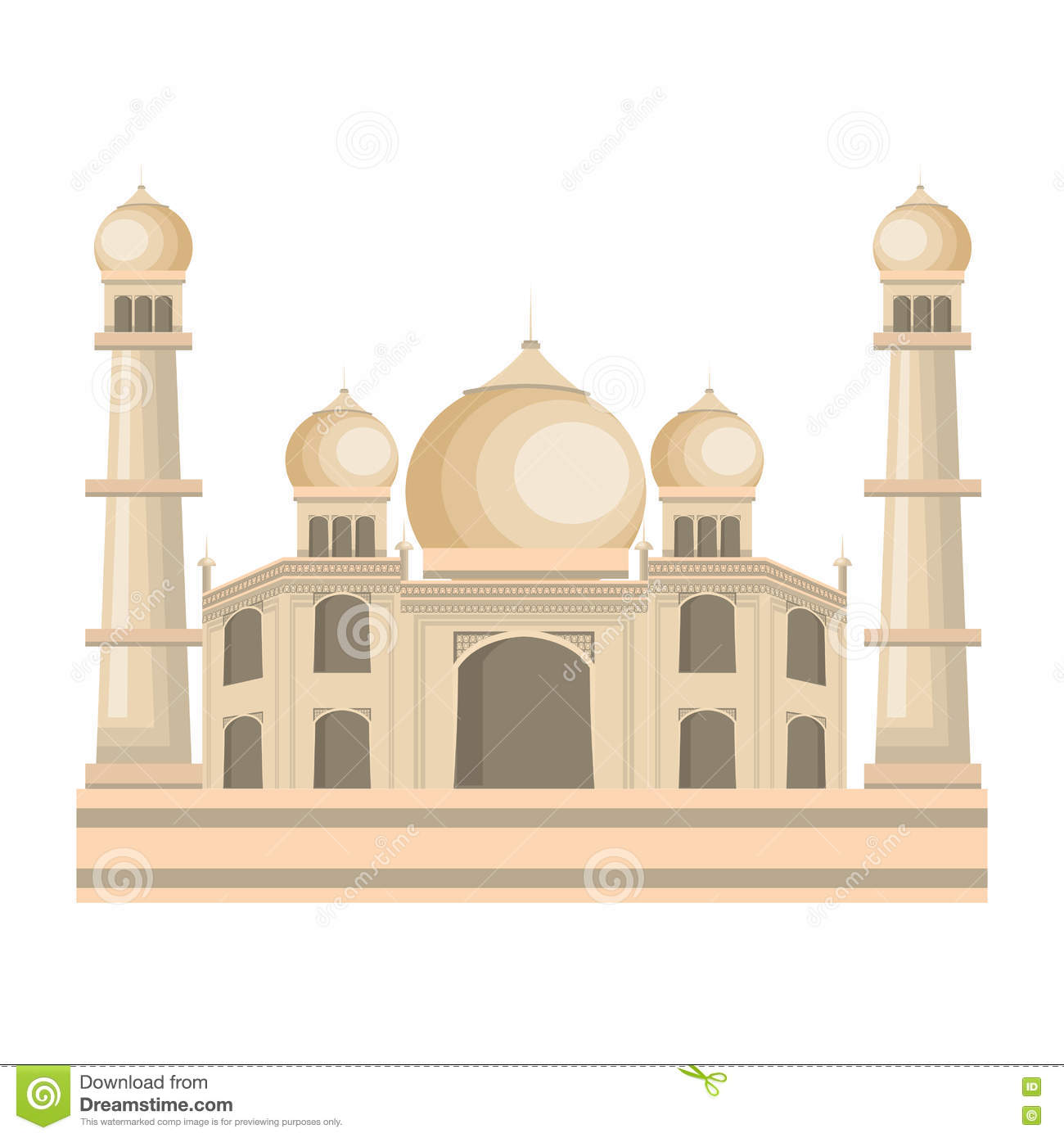 Taj mahal in india vector sketch vector illustration for Taj mahal exterior design