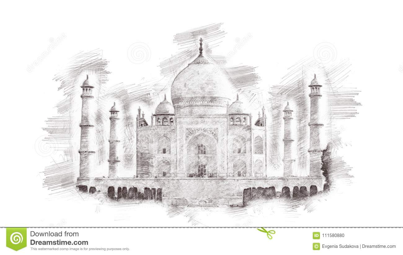 Taj mahal india hand drawn pencil landmark sketch isolated on white background