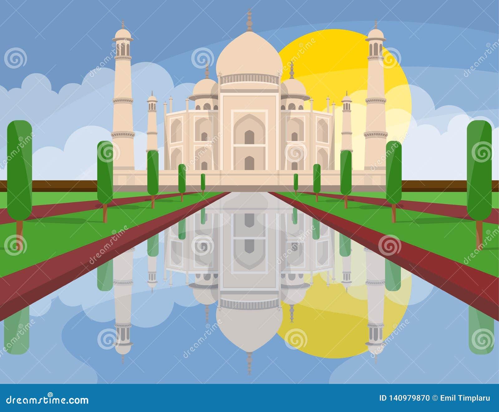 Taj mahal India vector design illustration. Concept art.