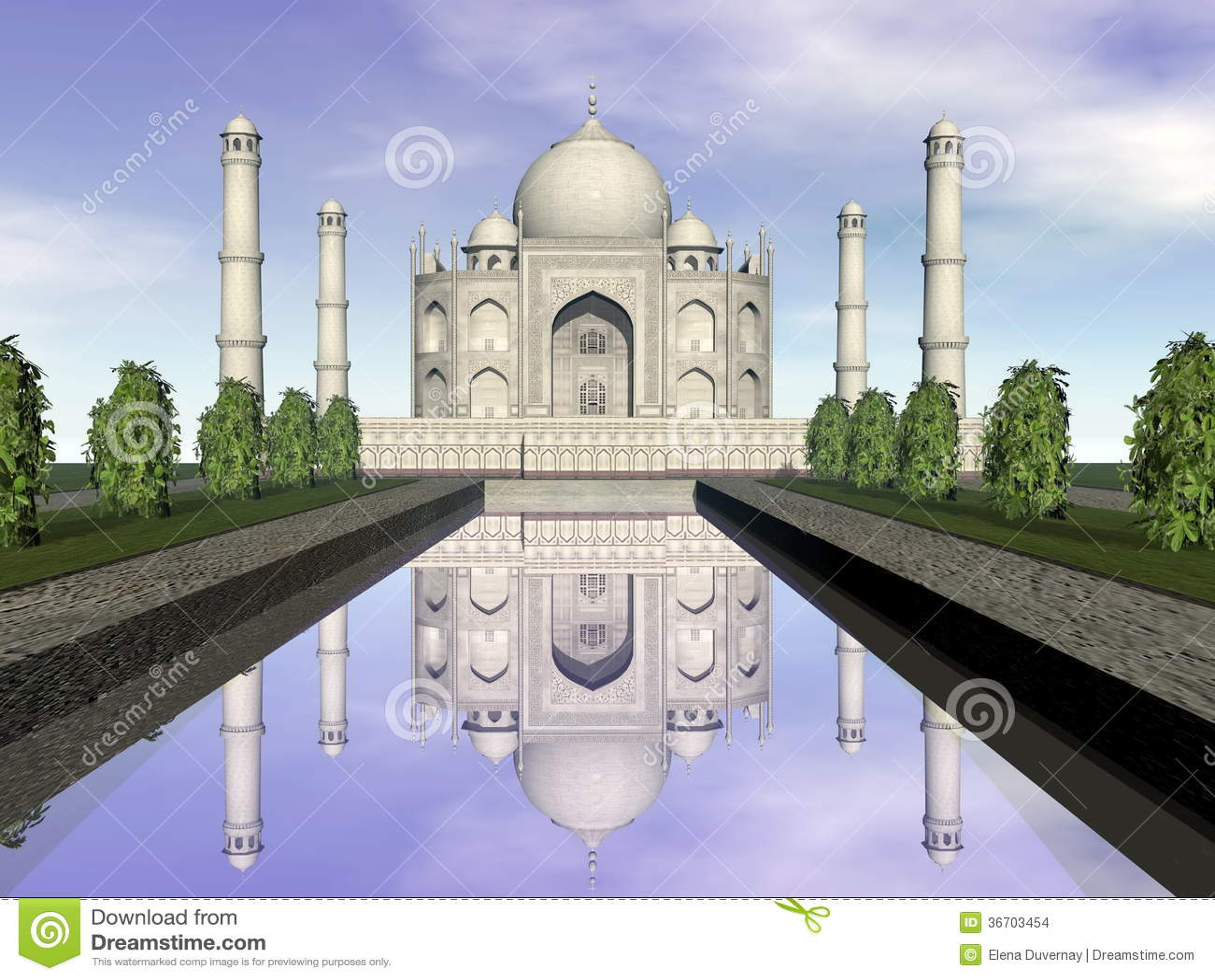Taj Mahal-mausoleum, Agra, 3D India - geef terug