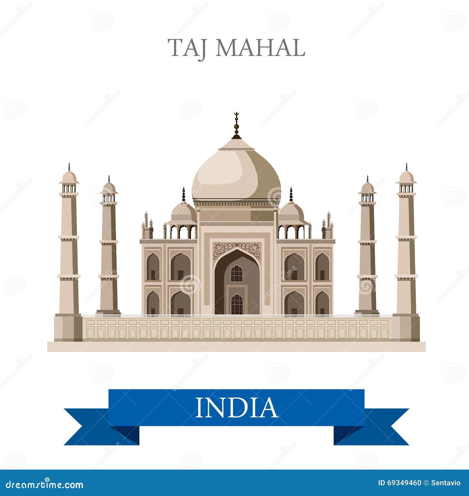 Taj Mahal-mausoleum in Agra, de vector vlakke aantrekkelijkheid van India