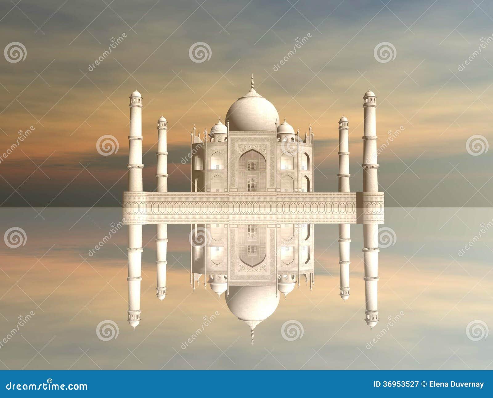 Taj Mahal mausoleum, Agra, Indien - 3D framför