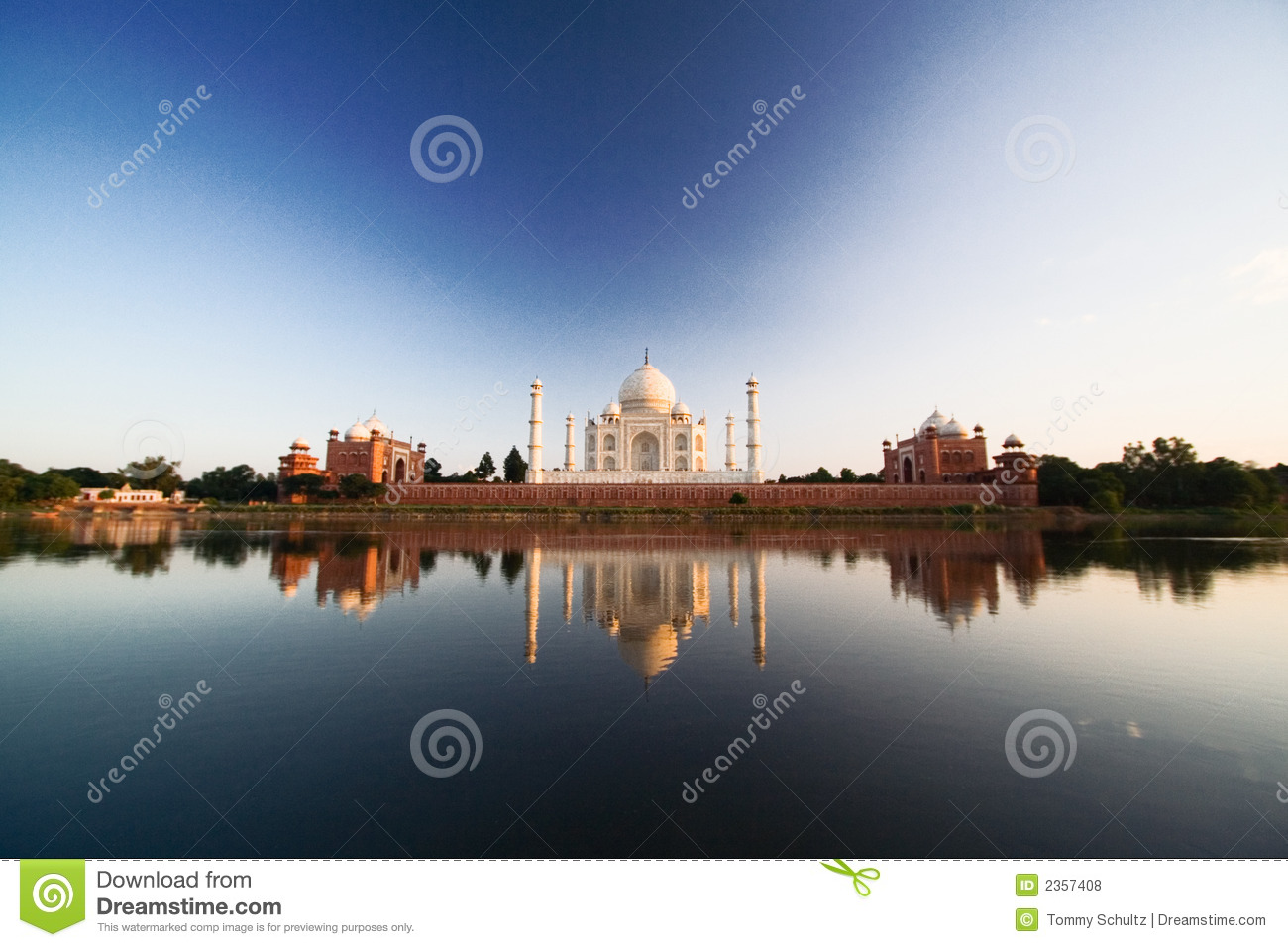 Taj Mahal reflected in river a