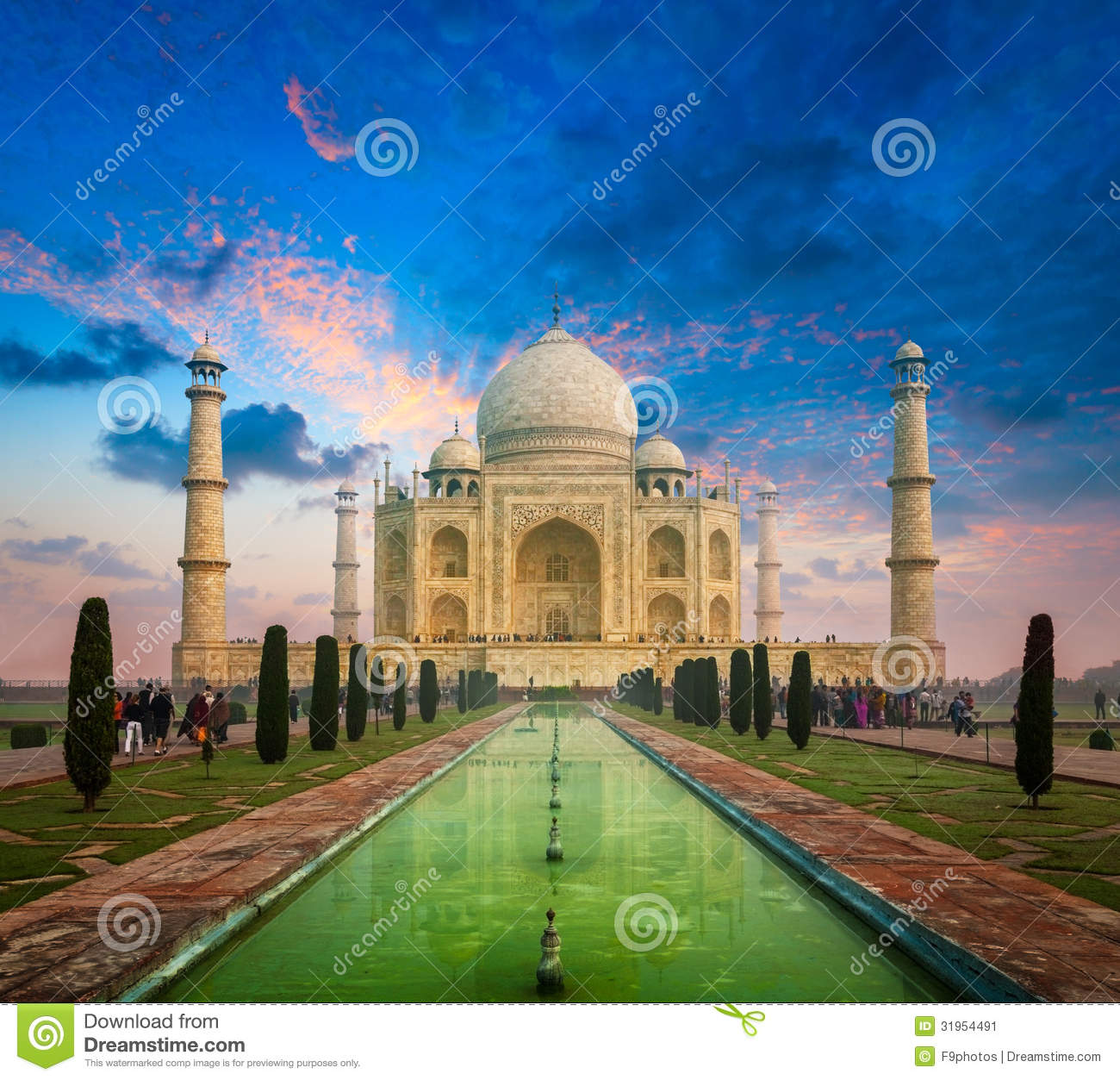 Taj Mahal On Sunrise Sunset Agra India Stock Image Image Of Historical Landmark 31954491