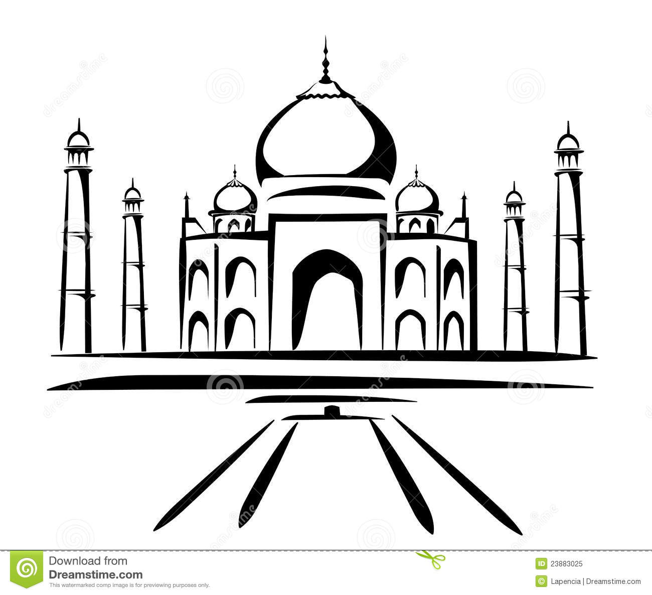 Drawing Vector Lines In Photo : Taj mahal symbol in black lines stock vector