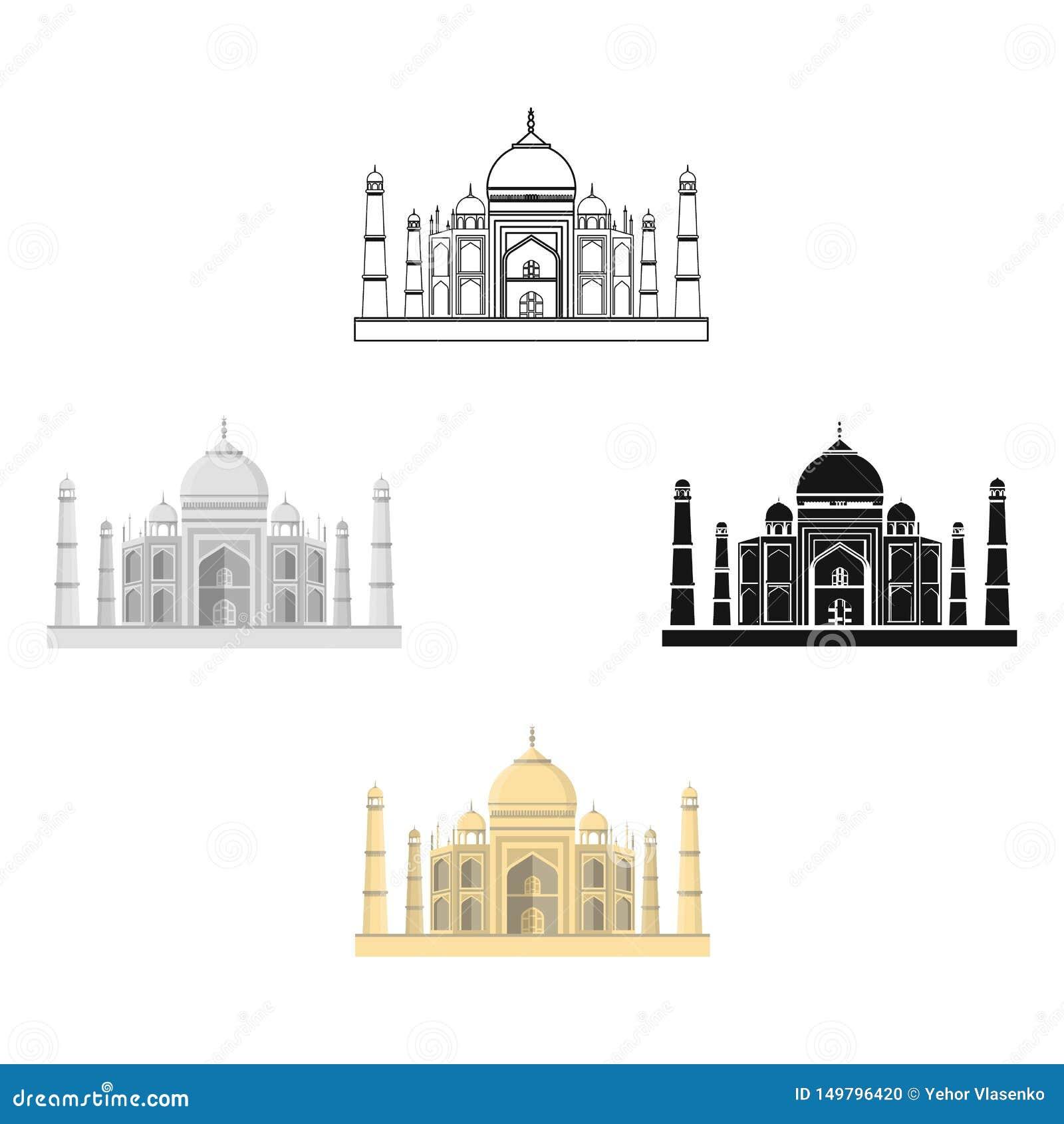 Taj Mahal symbol i tecknade filmen, svart stil som isoleras på vit bakgrund Illustration f?r vektor f?r Indien symbolmateriel