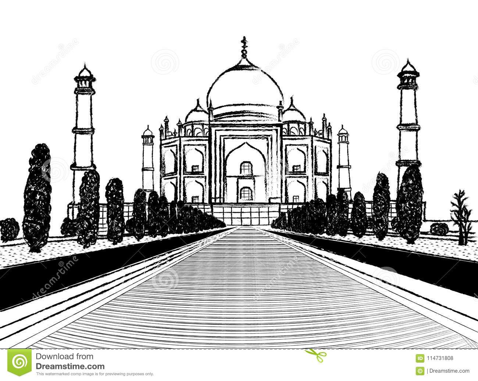 Taj skissar mahal tempelkol på vit bakgrund