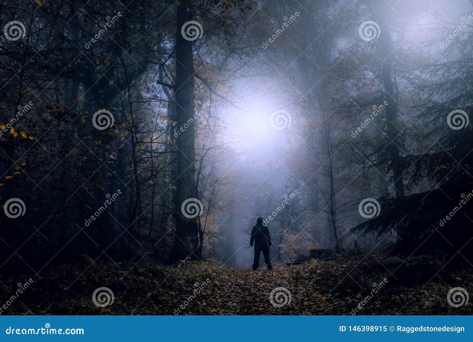 Tajemniczy pojęcie redaguje Samotna postaci pozycja na lasowej ścieżce na strasznej mglistej nocy patrzeje światła w niebie Z cze