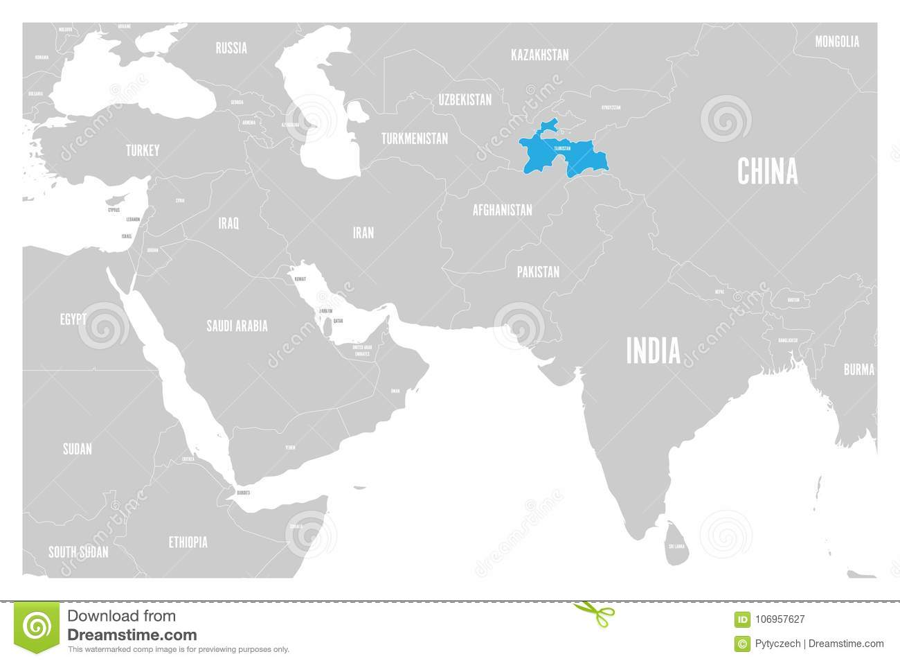 Tajikistan Blue Marked In Political Map Of South Asia And Middle ...