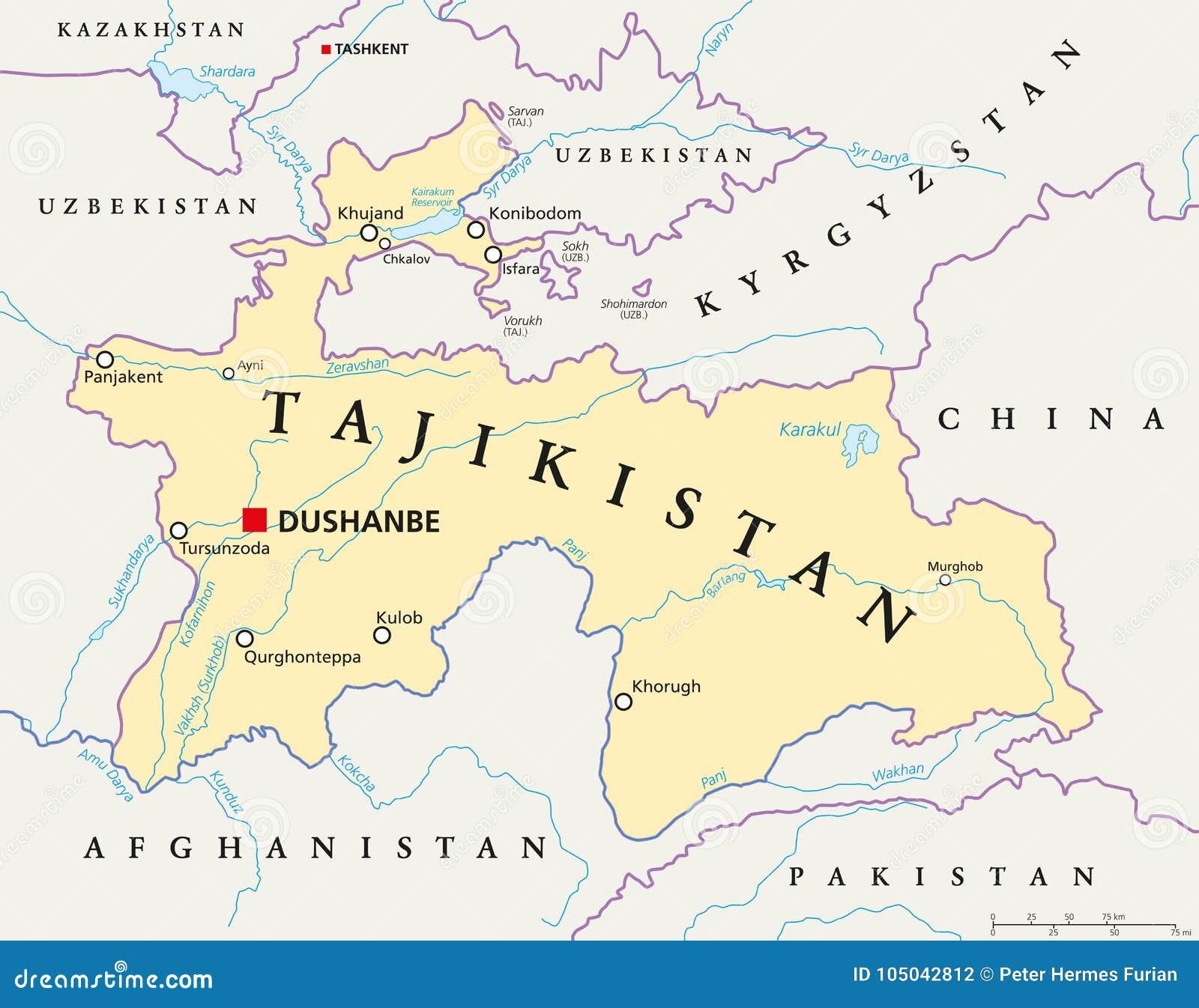Tajikistan Political Map stock vector. Illustration of ...