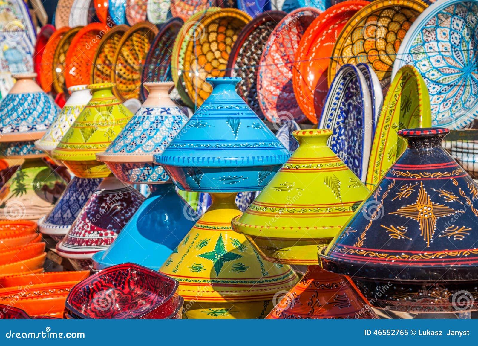 Tajines i marknaden, Marrakesh, Marocko