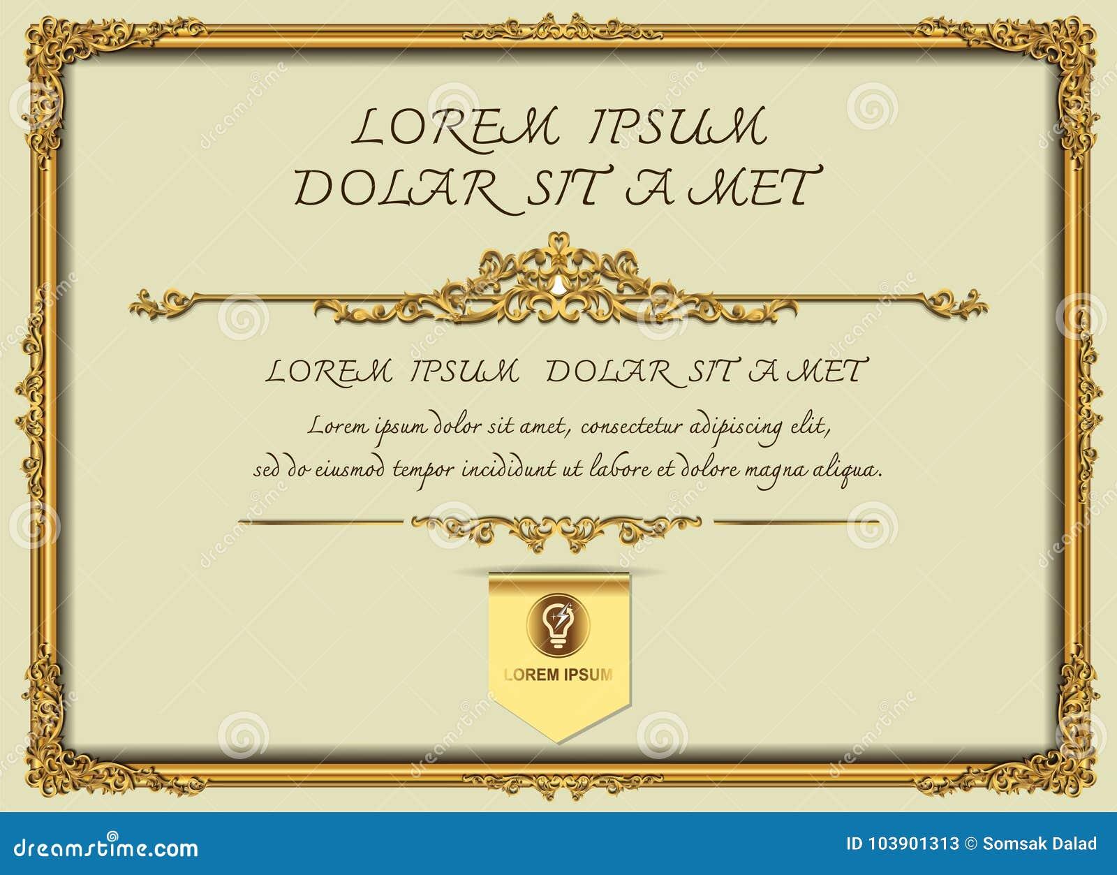 Tajlandia złota Królewska rama na kaczora wzoru tle, rocznik fotografii ramy antyk, projekta wzór