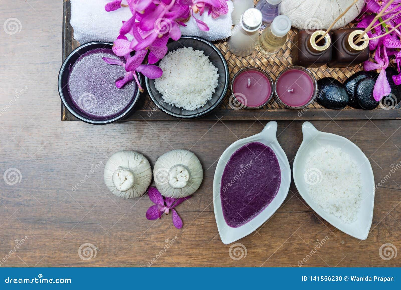 Tajlandzka zdrojów traktowań aromata terapii natury, soli cukrowa pętaczka i Tajlandia