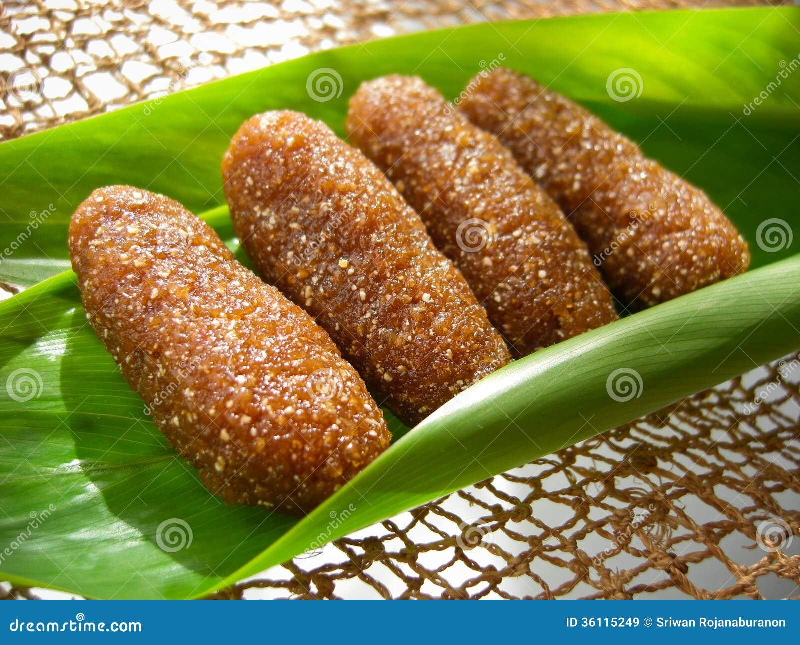 Tajlandzki deser dzwonił tu lub suszył ryżowe piłki