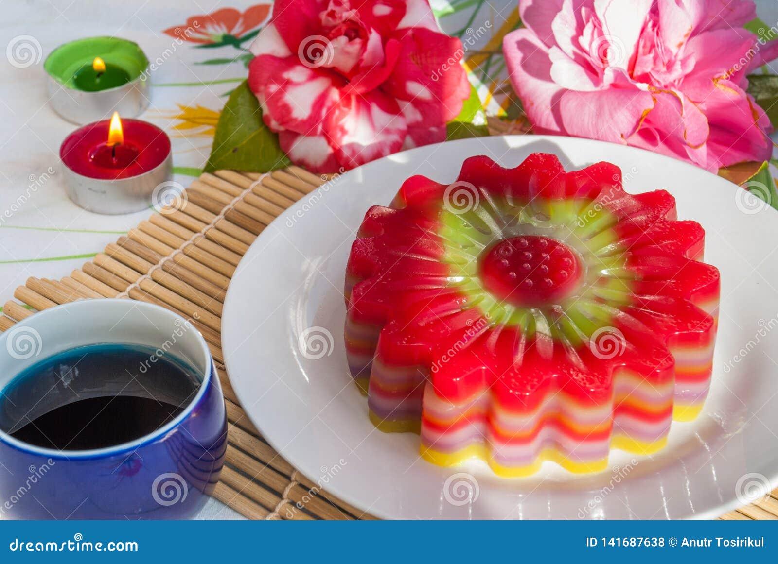 Tajlandzki deserowy warstwa cukierki tort Chan lub Kanom