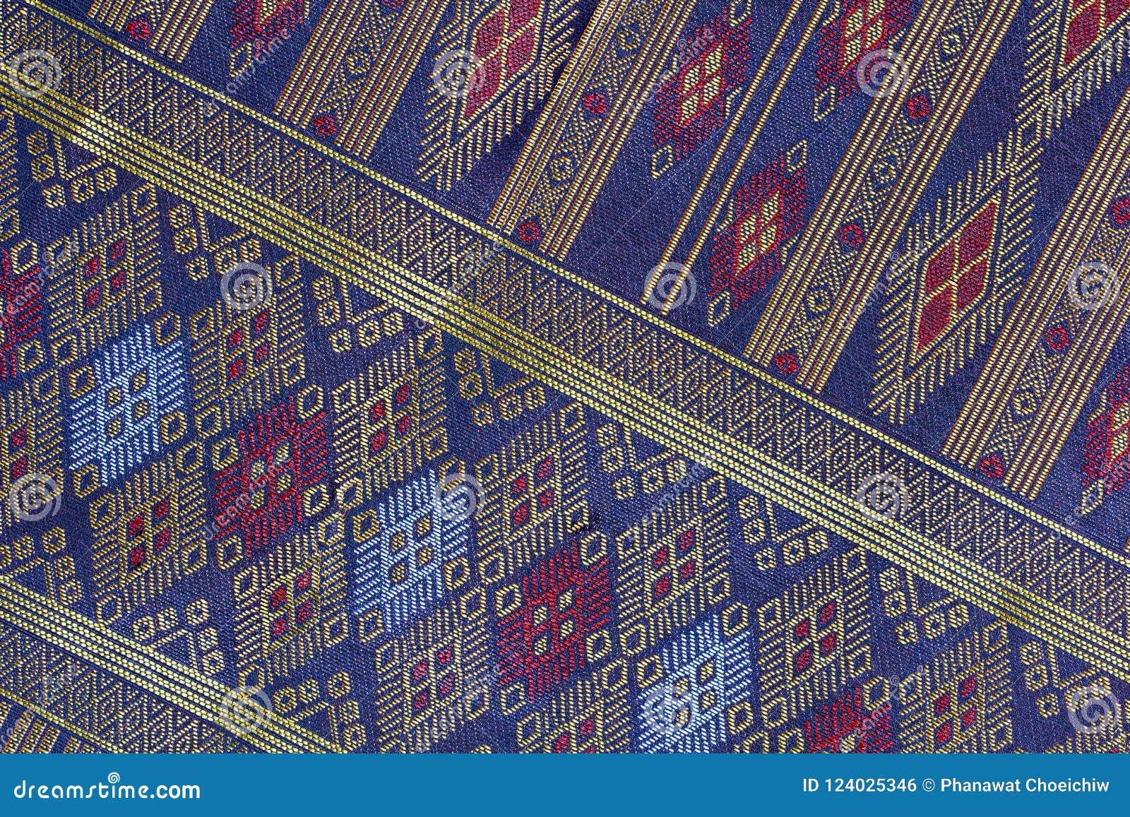 Tajlandzki Jedwabniczy rękodzieło wzoru zakończenie up, Tajlandia tkaniny styl