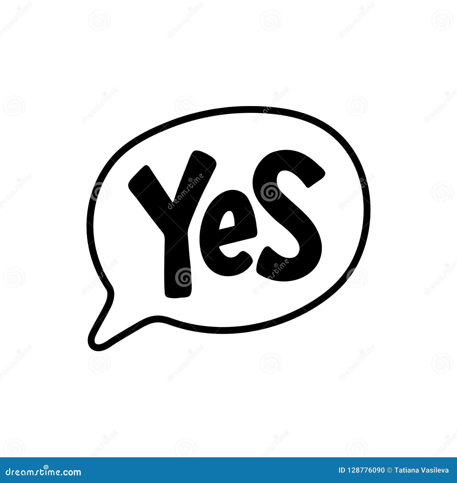 Tak słowo tekst na rozmowa kształcie Wektorowy ilustracyjny mowa bąbel