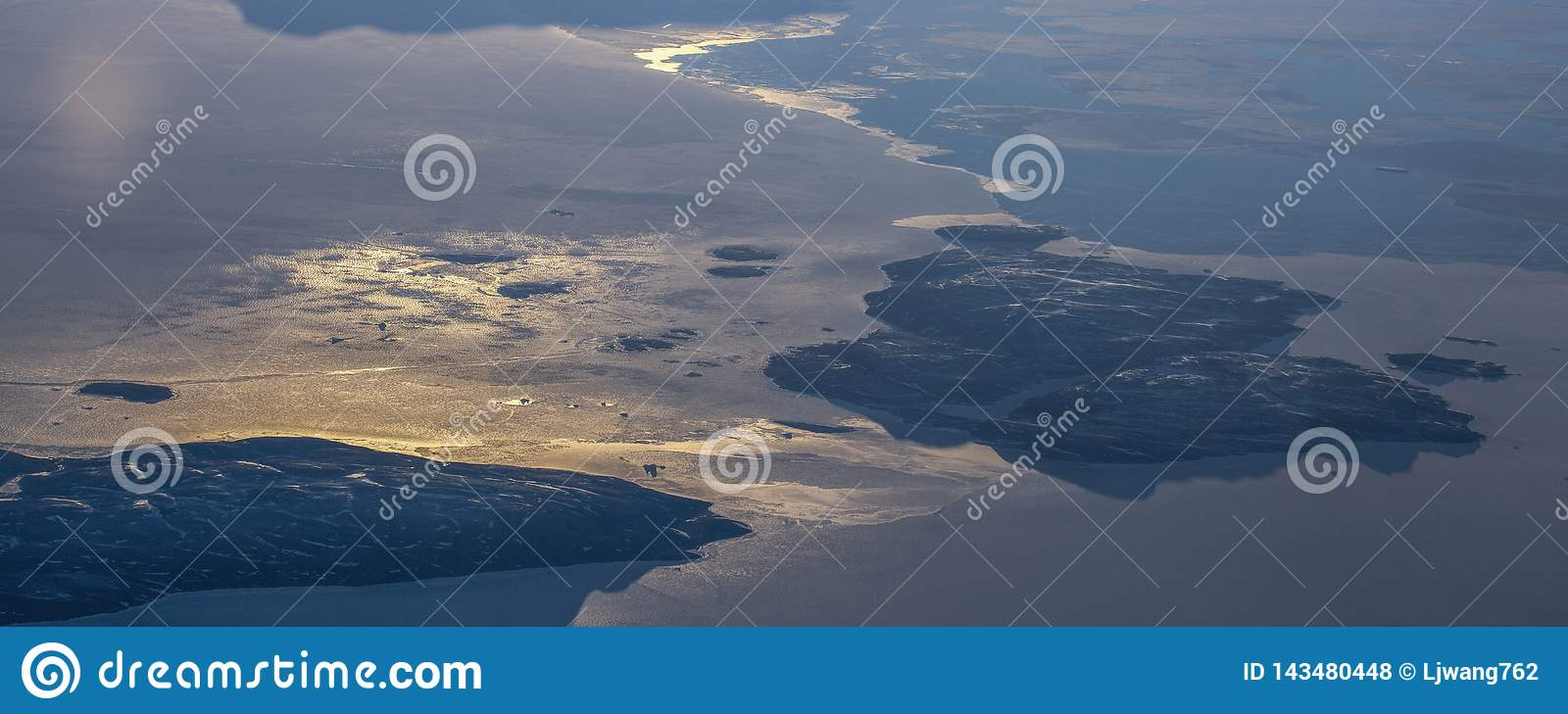 12Take an aerial view of the ice and sunrise over the bering strait.(1)