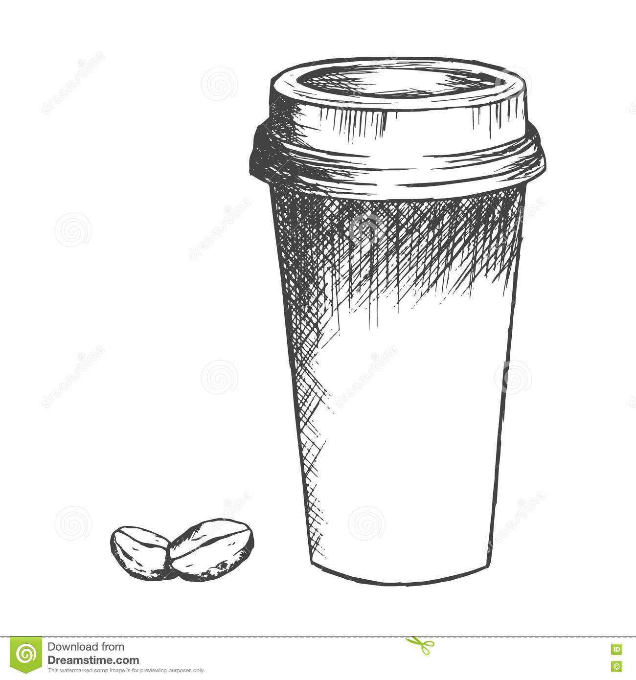 Coffee cup sketch - Royalty Free Vector Download Take Away Coffee Cup And Beans Sketch