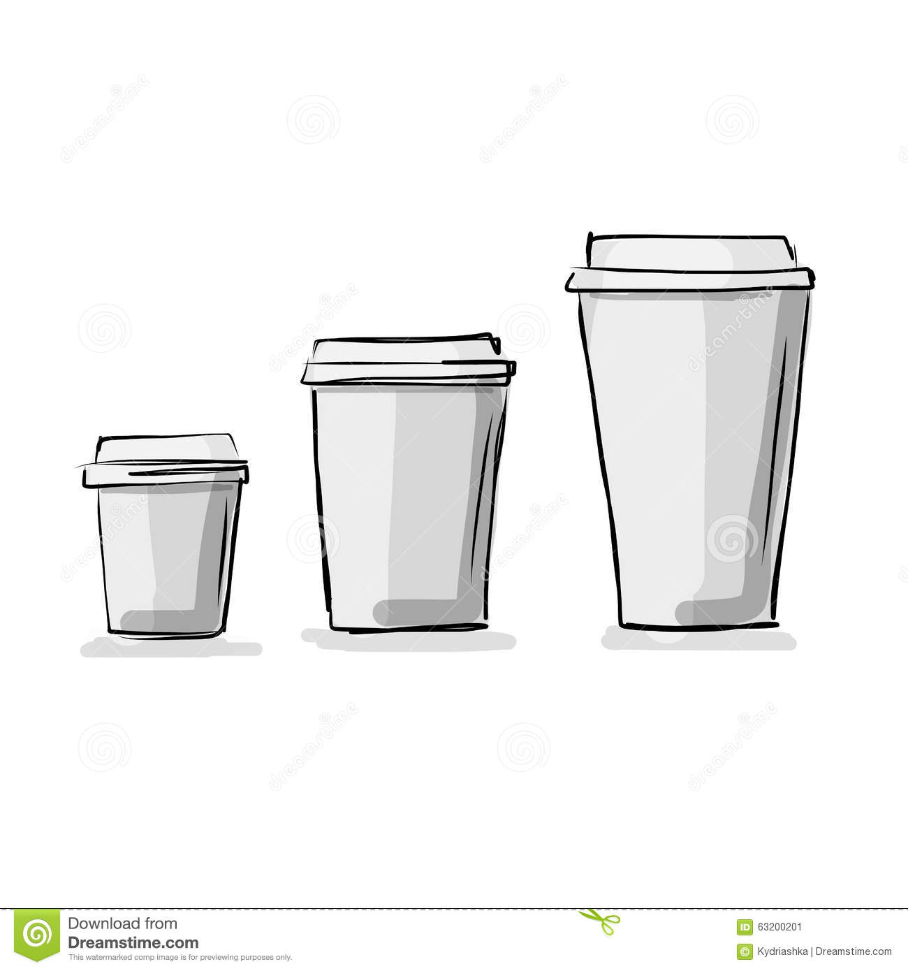 Coffee cup sketch - Royalty Free Vector Download Take Away Coffee Cups Sketch