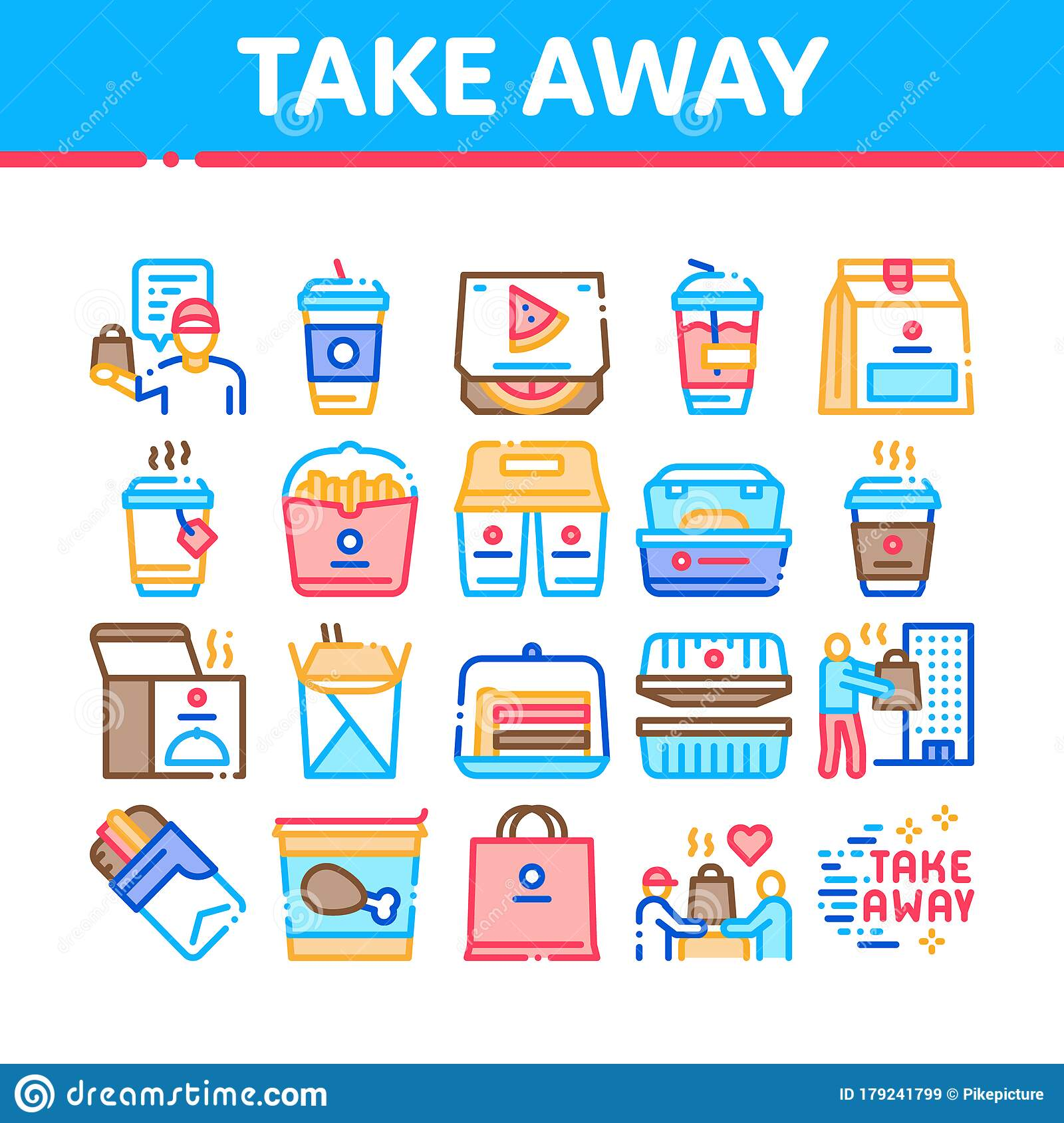 away take icons vector drink delivery